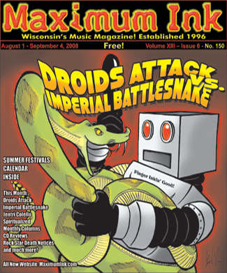 Madison's Droids Attack Vs. Chicago's Imperial Battlesnake on the cover of Maximum Ink - photo by Brad Van (drawing)