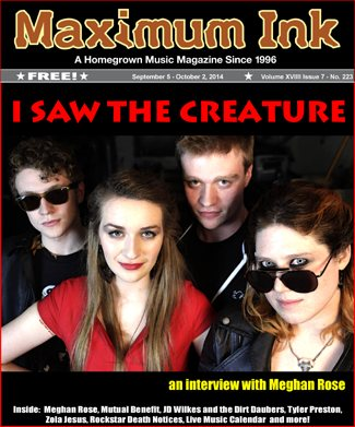Meghan Rose and I Saw The Creature on the cover of Max Ink September 2014