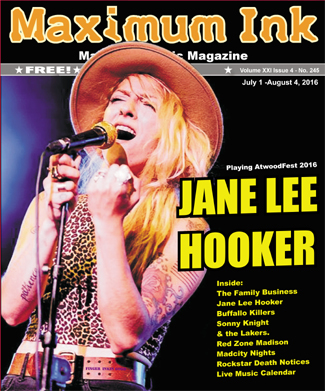 Jane Lee Hooker on the cover of Maximum Ink  - photo by Alan Rand