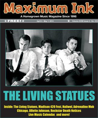Living Statues on the cover of Maximum Ink for April 2014 - photo by Adrienne D. Williams