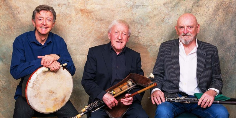 The Chieftains include Kevin Conneff (left), Paddy Moloney, and Terry Molloy, as well as newer members.