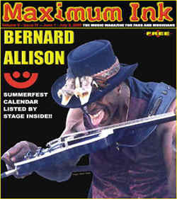 International artist Bernard Allison on the cover of Maximum Ink in June 2000