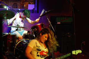 Damsel Trash featuring Emily Mills on drums/vox and Meghan Rose on bass guitar and vocals
