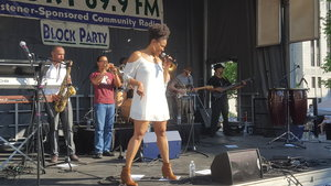 Porsche Carmon of the Charles Walker Band strutting her stuff at the WORT Block Party - photo by Andrew Frey