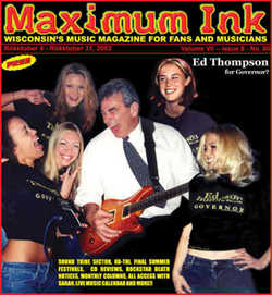 Ed Thompson jammin on the cover of Maximum Ink in October 2002 - photo by Rokker