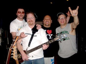 Bradley Fish's Electrifried Band: Jeff Muendel, Philly, Bradley Fish, Rokker - at Smart Studios in Madison, Spring 2008