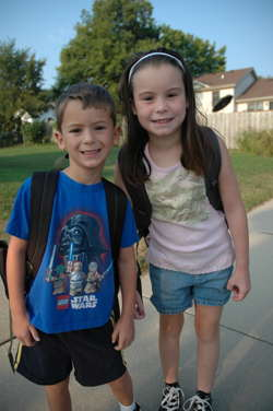 Elizabeth and Nikolai just about to get on the bus for the first day of school 2008