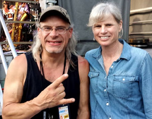Rökker with gubernatorial candidate Mary Burke backstage at AtwoodFest 2014 in Madison - photo by Allison Rocker