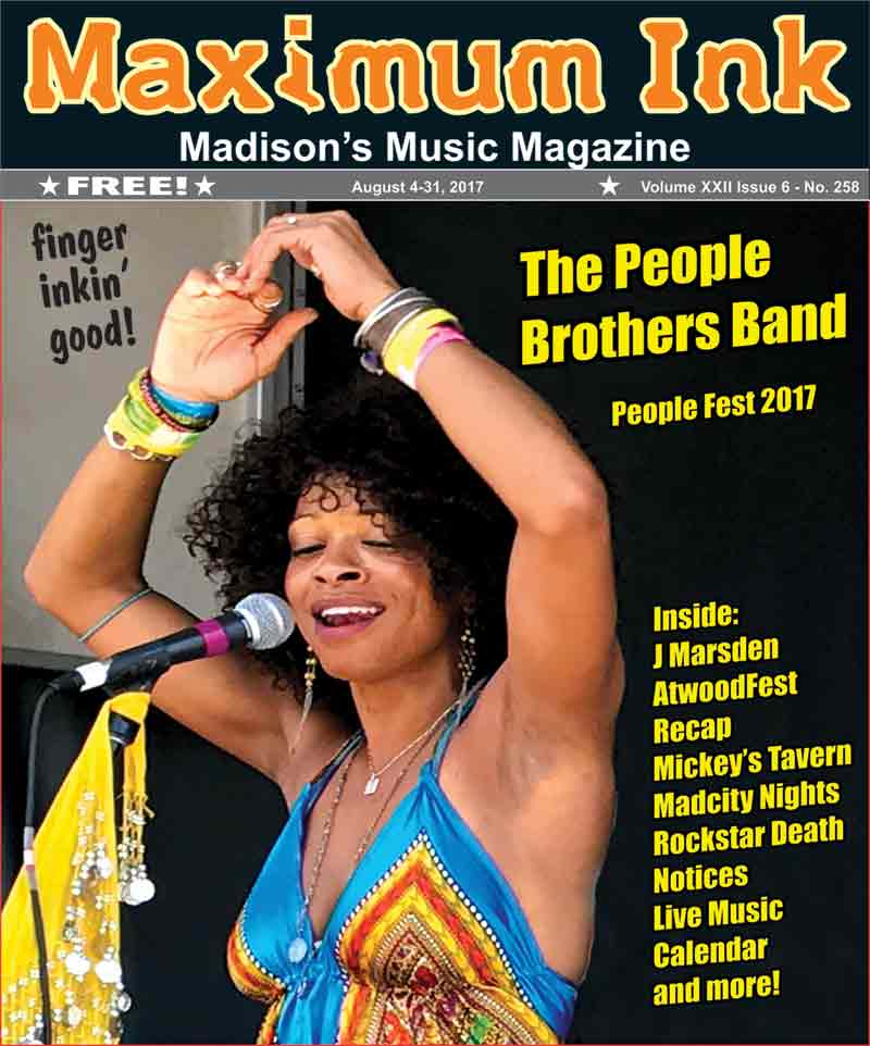 Theresa Marie of The People Brothers Band on stage at AtwoodFest 2017 only days before appearing on the Cover of Maximum Ink - photo by Jason Tish