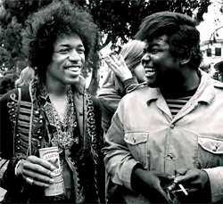 Jimi Hendrix with Buddy Miles (right) circa 1970 Band Of Gypsies era