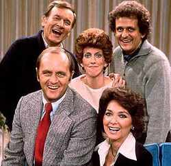 Cast of the Bob Newhart show circa 1970's, Suzanne Pleshette is at the lower right