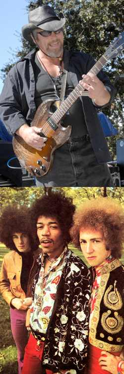 Robert Lucas of Canned Heat (Top) and The Jimi Hendrix Experience (bottom) with Mitch Mitchell on right - photo by (Robert Lucas) Pat Johnson