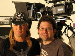 Shane Stanley and Bret Michaels on the set