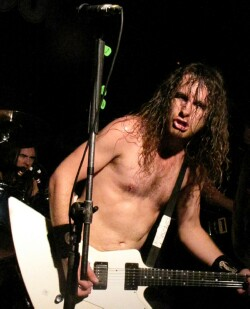 Joel O'Keeffe of Airbourne tearing it up at the Frequency, April 17, 2013 - photo by Kris Huehne
