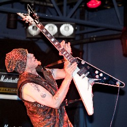 Michael Schenker soloing at Scatz, August 4, 2010 - photo by Brian Ebner