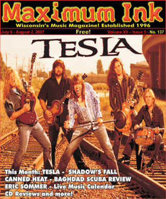 Tesla on the cover of Maximum Ink July 2007