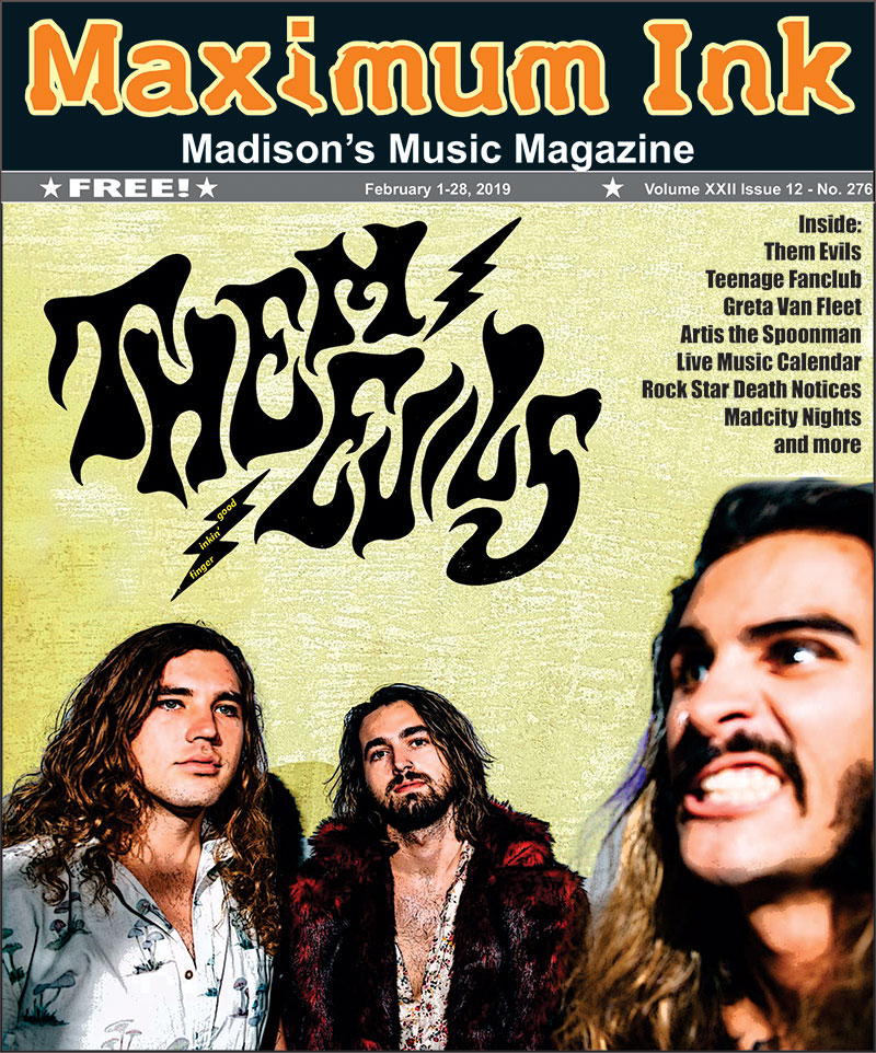 Them Evils on the cover of Maximum Ink music magazine for February 2019